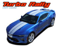 TURBO RALLY : Chevy Camaro Bumper to Bumper Indy Style Vinyl Graphic Racing Stripes Rally Decals Kit 2016 2017 2018 SS RS V6 Models (VGP-4052)