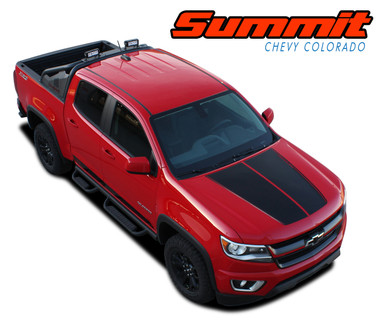 SUMMIT : 2015 2016 2017 2018 2019 2020 Chevy Colorado Hood Dual Racing Stripe Factory OEM Style Package Vinyl Graphic Decal Kit (VGP-4150)