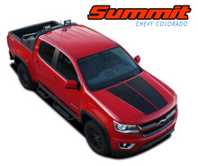 SUMMIT : 2015 2016 2017 2018 2019 2020 2021 Chevy Colorado Hood Dual Racing Stripe Factory OEM Style Package Vinyl Graphic Decal Kit (VGP-4150)