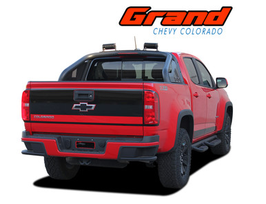 GRAND : 2015 2016 2017 2018 2019 2020 Chevy Colorado Rear Tailgate Blackout Accent Vinyl Graphic Package Decal Stripe Kit (VGP-4151)