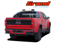 GRAND : 2015 2016 2017 2018 2019 Chevy Colorado Rear Tailgate Blackout Accent Vinyl Graphic Package Decal Stripe Kit (VGP-4151)