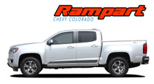 RAMPART : 2015 20162 2017 2018 2019 2020 2021 Chevy Colorado Lower Rocker Panel Accent Vinyl Graphic Factory OEM Style Decal Stripe Kit (VGP-4156)