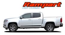 RAMPART : 2015 20162 2017 2018 2019 2020 2021 Chevy Colorado Lower Rocker Panel Accent Vinyl Graphic Factory OEM Style Decal Stripe Kit (VGP-4156)