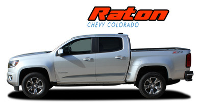 RATON : 2015 2016 2017 2018 2019 2020 Chevy Colorado Lower Rocker Panel Accent Vinyl Graphic Package Factory OEM Style Decal Stripe Kit (VGP-4153)
