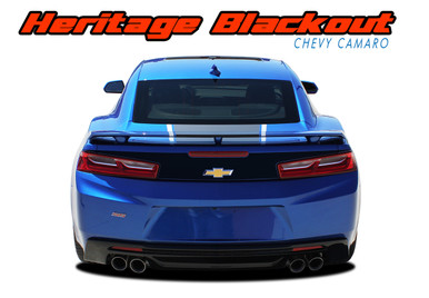 HERITAGE BLACKOUT : 2016 2017 2018 Chevy Camaro 50th Anniversary Indy 500 Style Rear Trunk Blackout Vinyl Graphic Decals Kit fits SS RS V6 All Models (VGP-4207)