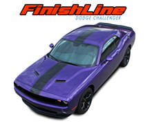 FINISH LINE : 2015 2016 2017 2018 2019 Dodge Challenger Center Wide Rallye Redline Style Vinyl Racing Stripes Hood Decal Graphics Kit (VGP-4241)
