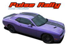PULSE RALLY : 2008 2009 2010 2011 2012 2013 2014 2015 2016 2017 2018 2019 2020 Strobe Style Hood to Trunk Vinyl Graphic Racing Rally Decal Stripes Kit (VGP-4250)