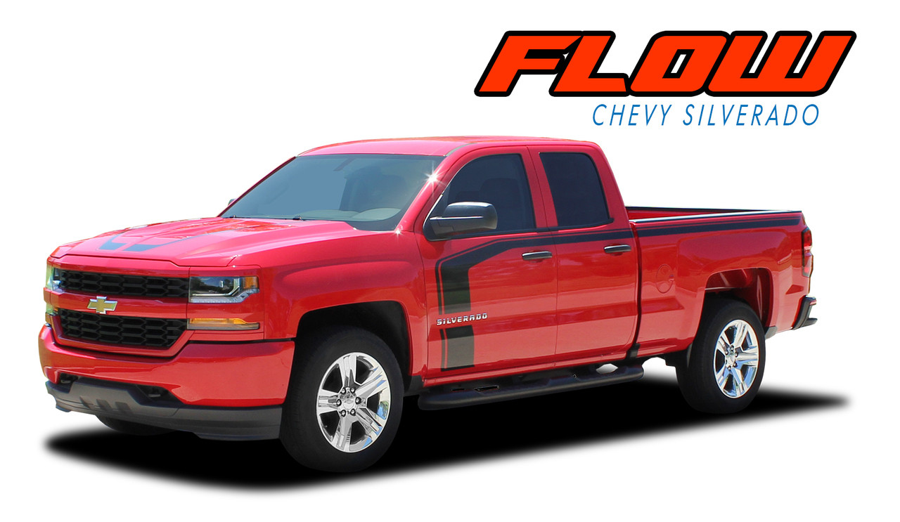 Chevy Silverado 2017 Special Edition >> Flow 2016 2018 Chevy Silverado Special Edition Rally Style Hood Side Upper Body Hockey Accent Vinyl Graphic Decal Stripe Kit