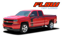 FLOW : 2016 2017 2018 Chevy Silverado Special Edition Rally Style Hood Side Upper Body Hockey Accent Vinyl Graphic Decal Stripe Kit (VGP-4407)