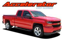 ACCELERATOR : 2014 2015 2016 2017 2018 Chevy Silverado Upper Body Line Accent Rally Side Vinyl Graphic Decal Stripe Kit (VGP-4403)
