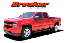 BREAKER : 2014 2015 2016 2017 2018 Chevy Silverado Upper Body Line Accent Rally Side Vinyl Graphic Decal Stripe Kit (VGP-4405)