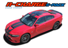 N-CHARGE RALLY S-PACK : 2015 2016 2017 2018 2019 2020 2021 Dodge Charger R/T Scat Pack SRT 392 Hellcat Racing Stripe Rally Vinyl Graphics Decals Kit (VGP-4467)