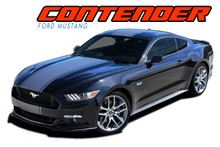 CONTENDER : 2015 2016 2017 Ford Mustang Wide Center Bumper to Bumper Hood Racing Rally Stripes Vinyl Graphics Kit (VGP-4534)