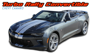 TURBO RALLY CONVERTIBLE : Chevy Camaro Bumper to Bumper Indy Style Vinyl Graphic Racing Stripes Rally Decals Kit 2016 2017 2018 SS RS V6 Convertible Models (VGP-4638.4639)