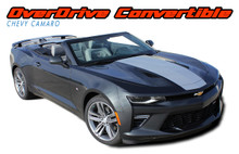 OVERDRIVE CONVERTIBLE : 2016 2017 2018 Chevy Camaro Center Wide Hood Racing Stripes Rally Vinyl Graphics and Decals Kit fits SS RS V6 Convertibles (VGP-4640)