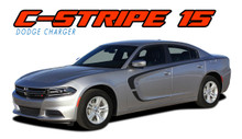 "C-STRIPE 15 : 2015 2016 2017 2018 2019 2020 Dodge Charger ""C"" Style Side Door Vinyl Graphic Decals Stripe Kit (VGP-3314.B)"