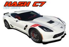 C7 HASH MARKS : 2014 2015 2016 2017 2018 2019 Chevy C7 Corvette Double Bar Hood Fender Stripes Vinyl Graphic Decals Kit (VGP-4672)