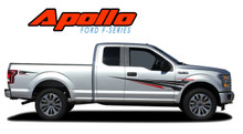 APOLLO : 2015 2016 2017 2018 2019 Ford F-150 Side Door Splash Design Stripes Vinyl Graphics and Decals Kit (VGP-4780)