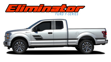 ELIMINATOR : 2015-2019 2020 Ford F-150 Side Door Hockey Stick Rally Stripes Vinyl Graphics and Decals Kit (VGP-4777)