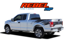 REBEL RIP : 2015-2019 2020 Ford F-150 Mudslinger Side Truck Bed 4X4 Vinyl Graphics and Decals Striping Kit (VGP-4775)