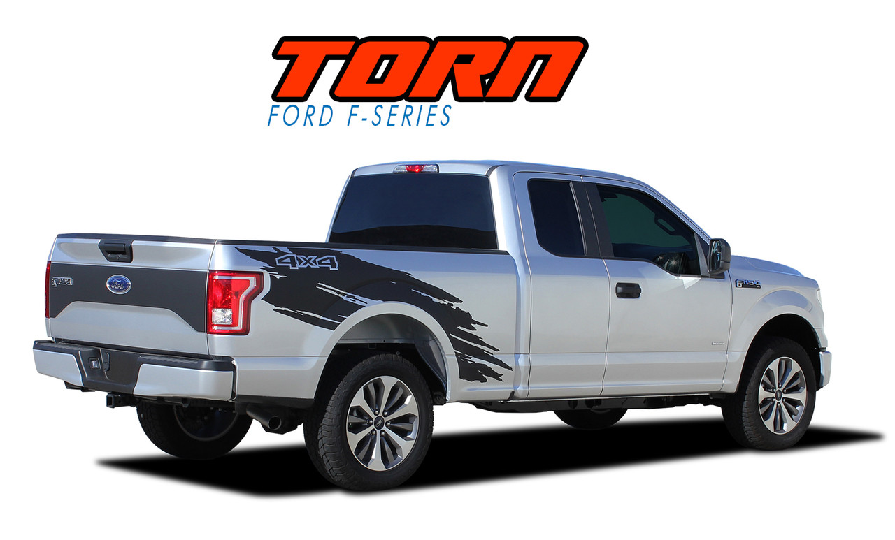 Torn 2015 2019 ford f 150 mudslinger side truck bed 4x4 vinyl graphics and decals striping kit vgp 4778