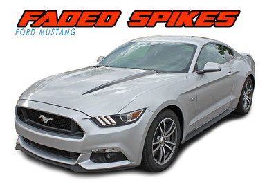 FADED SPIKES : 2015-2017 Ford Mustang Hood Spears Fade Fading Stripes Vinyl Graphic Decals Kit (VGP-4744.45)
