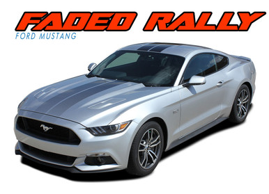 FADED RALLY : 2015-2017 Ford Mustang Hood OEM Style Racing Stripes Black Silver Fade Fading Striping Vinyl Graphic Decals Kit (VGP-4734.41)