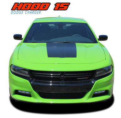 HOOD 15 : 2015 2016 2017 2018 2019 Dodge Charger SE RT Hemi Daytona Mopar Blackout Style Center Hood Vinyl Graphics Decals Kit (VGP-4929)