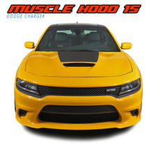 MUSCLE HOOD 15 : 2015 2016 2017 2018 2019 2020 2021 Dodge Charger Hemi Daytona R/T SRT 392 Hellcat Mopar Blackout Style Center Hood Vinyl Graphics Decals Kit (VGP-4968)