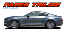 FADED TRILINE ROCKERS : 2015 2016 2017 Ford Mustang Lower Door Rocker Panel Fade Fading Stripes Vinyl Graphic Decals Kit (VGP-5014)