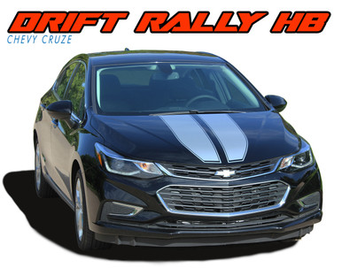 DRIFT RALLY HATCHBACK : 2017-2019 Chevy Cruze Rally Racing Stripes Vinyl Graphics Decal Hood Trunk Kit (VGP-5111)