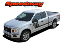 SPEEDWAY SIDES : 2015-2019 Ford F-150 Special Edition Appearance Package Style Door Hockey Stripe Vinyl Graphics Decals Kit (VGP-5239)
