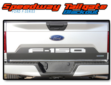 SPEEDWAY TAILGATE BLACKOUT : 2018 2019 2020 Ford F-150 Rear Tailgate Vinyl Graphics Decals Kit (VGP-5248)