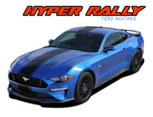 HYPER RALLY : 2018 2019 2020 2021 Ford Mustang Stripes Center Wide Racing Rally Stripes Vinyl Graphics Kit (VGP-5434)
