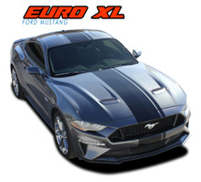 EURO XL RALLY : 2018 2019 2020 Ford Mustang Stripes Center Wide Racing Rally Stripes Vinyl Graphics Kit (VGP-5444)