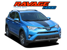 RAVAGE HOOD : 2016 2017 2018 2019 Toyota RAV4 Hood Decal Accent Trim Vinyl Graphic Stripe Kit (VGP-5786)