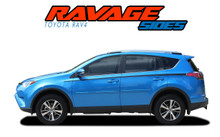 RAVAGE SIDES : 2016 2017 2018 2019 Toyota RAV4 Side Door Stripes Accent Trim Decals Vinyl Graphic Kit (VGP-5788)