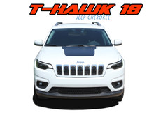 T-HAWK WINGED : 2018-2019 Jeep Cherokee Trailhawk Center Hood Blackout Vinyl Graphics Decal Stripe Kit (VGP-5790)