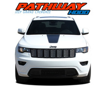 PATHWAY HOOD : 2011-2019 2020 2021 Jeep Grand Cherokee Center Hood Accent Vinyl Graphics Decal Stripe Kit (VGP-5842)
