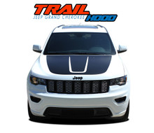 TRAIL HOOD : 2011-2020 2021 Jeep Grand Cherokee Hood Blackout Vinyl Graphics Decal Stripe Kit (VGP-5830)