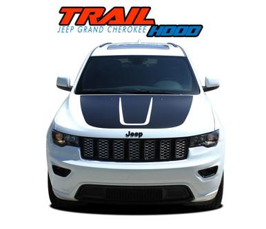 TRAIL HOOD : 2011-2020 2021 Jeep Grand Cherokee Hood Blackout Vinyl Graphics Decal Stripe Kit (VGP-5830)