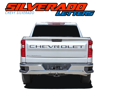 CHEVROLET LETTERS : 2019 2020 Chevy Silverado Tailgate Decals Rear Tail Gate Name Letter Vinyl Graphic Kit (VGP-5896)