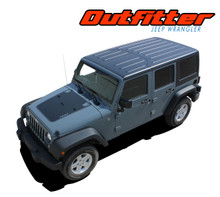 OUTFITTER : 2007-2017 Jeep Wrangler Hood Blackout Vinyl Graphics Decal Stripe Kit (VGP-2824)