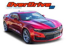 OVERDRIVE : 2019 2020 Chevy Camaro Center Wide Hood Racing Stripes Rally Vinyl Graphics and Decals Kit fits SS RS V6 Models