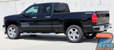 Chevy Silverado Side Matte Black Stripes 3M SHADOW 2013-2018