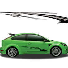 TORQUE : Automotive Vinyl Graphics - Universal Fit Decal Stripes Kit - Pictured with TWO DOOR HATCHBACK (ILL-852)