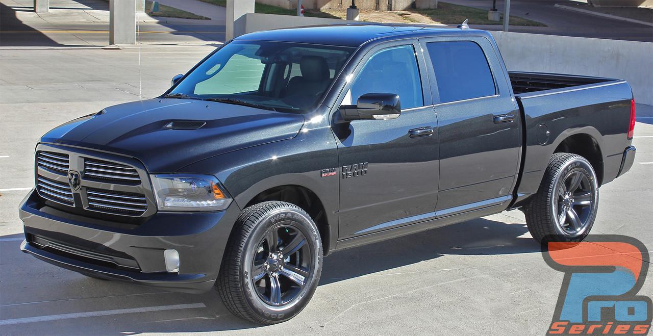 Dodge Ram Sport Hood Blackout Stripes 2009-2010-2011-2012-2013-2014 Style 3