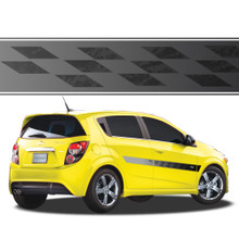 TALLADEGA : Automotive Vinyl Graphics - Universal Fit Decal Stripes Kit - Pictured with FOUR DOOR HATCHBACK (ILL-878)