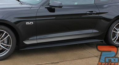 FADED ROCKER | Ford Mustang Stripe Silver & Mustang Text 2015-2018