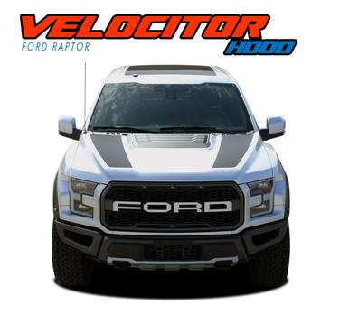 VELOCITOR HOOD : 2018 2019 2020 Ford Raptor Split Hood Decals Stripes Vinyl Graphics Kit (VGP-5719)